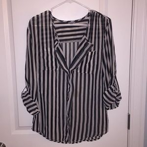Charlotte Russe Sheer Striped Top - Size Large
